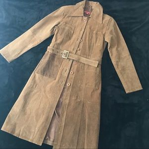 EUC - Genuine Leather (Suede) Trench Coat - Size M